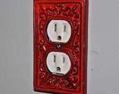 Red Decorative Electrical Outlet Plate /Plug-in Cover/ Fleur de lis/ Bright Cast Iron/ Painted Metal/ Shabby Chic