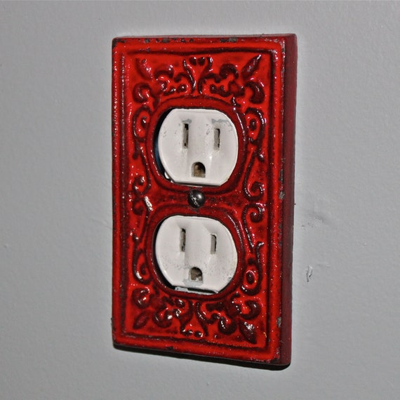 Red Tractor Plate Outlit : Red decorative electrical outlet plate plug in by