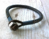 Mens Rugged Bracelet, Mens Jewelry, Blue and Brown, Gift for Him, Comfortable Style, Rustic Charm