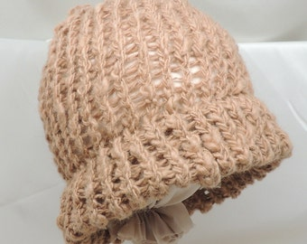 Pure Camel Down Loom Knit Hat