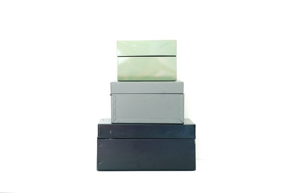 RESERVED FOR VIRNICE Instant Collection of Little Vintage Metal File Boxes-  Black, Gray, Green
