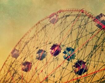 Wonder Wheel print, Coney Island, nursery art, whimsical, orange, ferris wheel, dreamy, nursery decor, carnival, vintage circus print, fPOE
