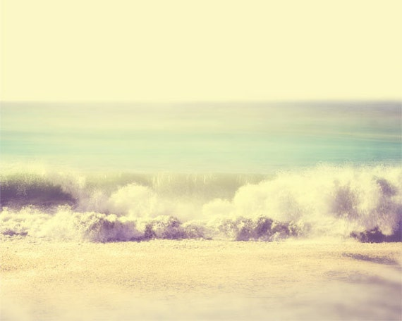 Beach Photography, aqua, ocean, seascape, nautical, blue green pastel, waves, pacific coast, sand, dreamy, shabby chic, nursery decor, fPOE