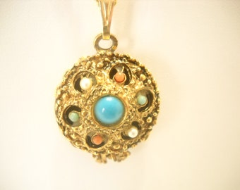 Vintage 1950s CREME PERFUME PENDANT Necklace--Full--No Fragrance Name (1215)