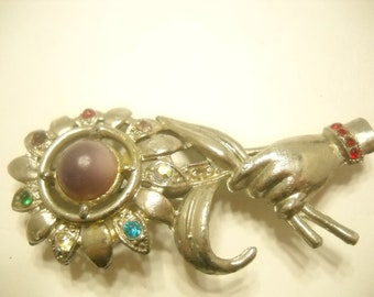Vintage 1940s ART DECO HAND And Flower Brooch (1888)