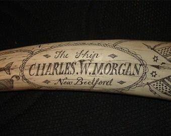 "Scrimshaw Faux Tusk ""Charles W. Morgan"" 1842 New Bedford, MA"