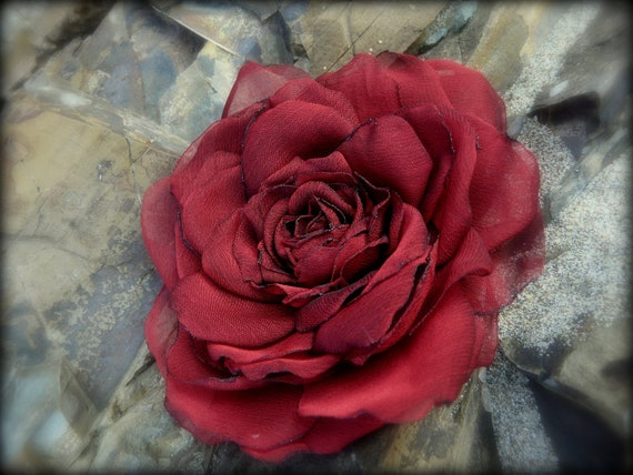 Red hair flower, Deep crimson silky hair flower, Red rose brooch, Ready to Ship, Valentine gift for her