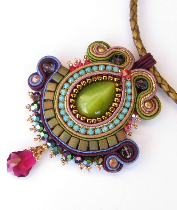 RESERVED for Kathleen - Soutache pendant in Green, Turquoise, Olive, Purple and Gold