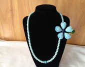 Blue Beaded Necklace with Blue Vintage Flower by CJW