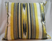 Stripe Accent Pillow - Yellow - Gray - White- 18 inch