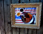 Americana - red white and blue - breakfast photo - pancakes coffee