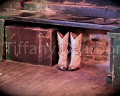 Lonesome Boots - worn white cowboy boots in a bar - Coyote Ugly - 8x10 color matte print