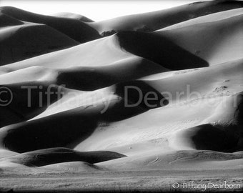 Dunes at Dusk - Great Sand Dunes National Park and Preserve - light - shadow - Colorado - 8x10 black and white matte print