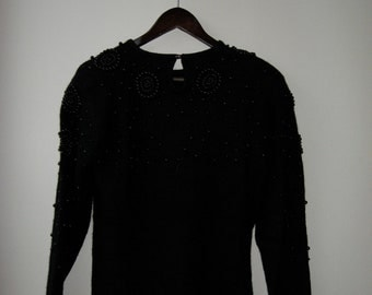 SALE, 50% OFF Beaded Wool Black 80's Sweater