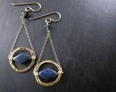 Sodalite Pendulum Earrings - Art Deco Inspired, Geometric Earrings
