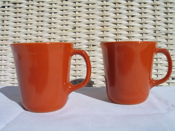Two Retro Pyrex Burnt Orange Mugs Mint Fall Colors Fall Decor Autumn Decor Thanksgiving Decor Halloween Decor