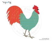 Rooster chicken applique template - PDF applique pattern