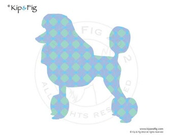 Poodle dog applique template - pdf applique pattern silhouette - use for stencils too