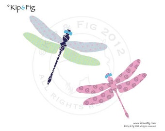 Dragonfly applique template - pdf applique pattern