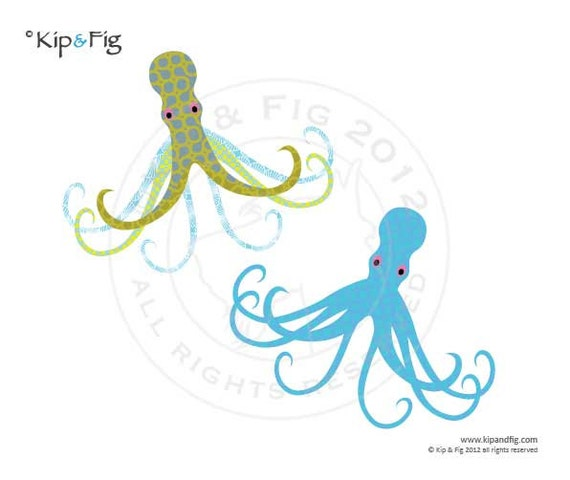 Octopus applique template - pdf applique pattern