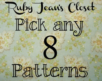 SALE Pick any 8 patterns from Ruby Jean's Closet and SAVE on Dress PDF Patterns