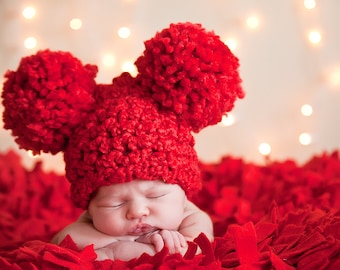 Red Baby Hat 0 to 3 Month Baby Girl Hat Baby Boy Hat Pom Pom Hat Animal Ear Hat Christmas Photo Prop Valentine's Day Photography Prop
