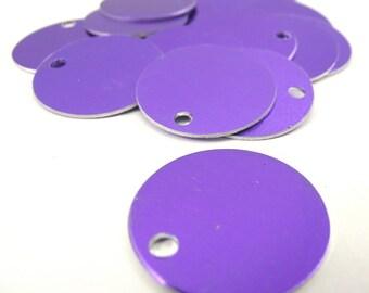 20 1 Inch Purple Aluminum Tags, Large Blank Discs