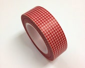 Japanese Washi Tape in Red Grids (15M long)