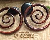 "Fake Gauge Earrings, ""XXL Spiral"" Naturally Organic, Sono Wood, Hand Carved, Tribal"