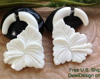 "Fake Gauge Earrings, ""Bloom"" Naturally Organic, Bone, Hand Carved, Tribal"