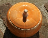 Small Orange Pumpkin Jar - stoneware pottery, hand thrown, Autumn, Fall, Harvest time decoration - muddywaterscc