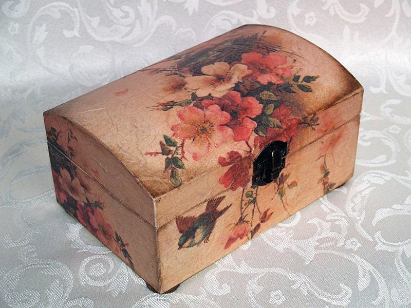 Decoupage jewelry box mini commode Romance