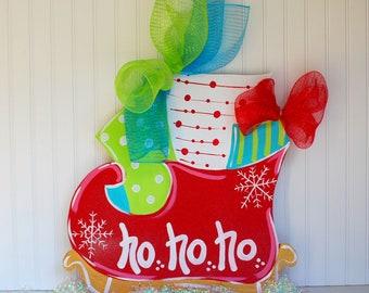 Door Hanger: Christmas, Santas Sleigh, Christmas Decor, Christmas Door Hanger, Holiday Decor