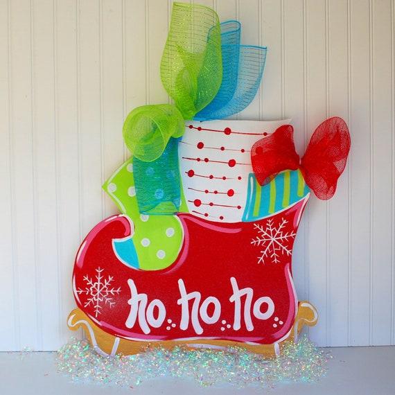 Door Hanger: Christmas Santas Sleigh Christmas Decor