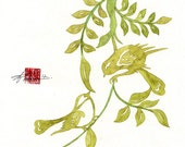 "GREEN WEDDING BIRDS, Chinese Paper cut, Love Birds, Flowers Watercolor print - 8"" x 10"" Print"