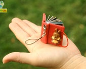 Custom Mini Photo Album Keychain / Mobile or Backpack Strap - Handcraft - Red Rabbit (Made to Order)