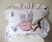 Vintage Kittens in a Basket Pillowcase Pillow Sham