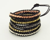 Wrap Bracelet  Black Leather - Gold Copper Silver Beads - Christmas Special