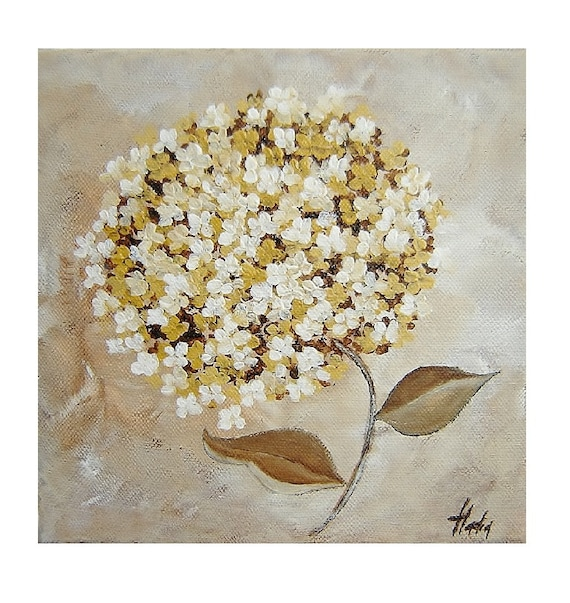 Acrylic painting. Modern House Decor. Original Painting. Canvas. Contemporary art. White Hydrangea. Modern Acrylic Painting.