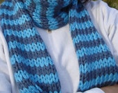 Long Striped Shades of Blue Scarf - can be worn as a neck warmer as well-