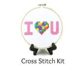 Tetris Heart - I Love You Cross Stitch KIT
