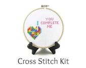 Tetris Heart - You Complete Me Cross Stitch KIT
