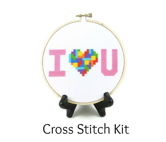 Tetris Heart - I Love You Cross Stitch KIT