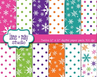 digital scrapbook papers - snowflake and polka dot patterns - INSTANT DOWNLOAD