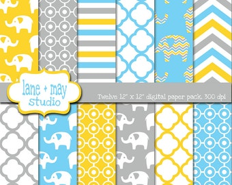 digital scrapbook papers - yellow, blue and gray elephants - INSTANT DOWNLOAD