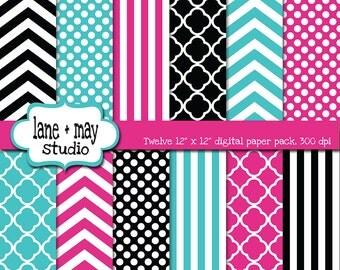digital scrapbook papers - hot pink, black and aqua chevron, quatrefoil, stripe and polka dot patterns - INSTANT DOWNLOAD