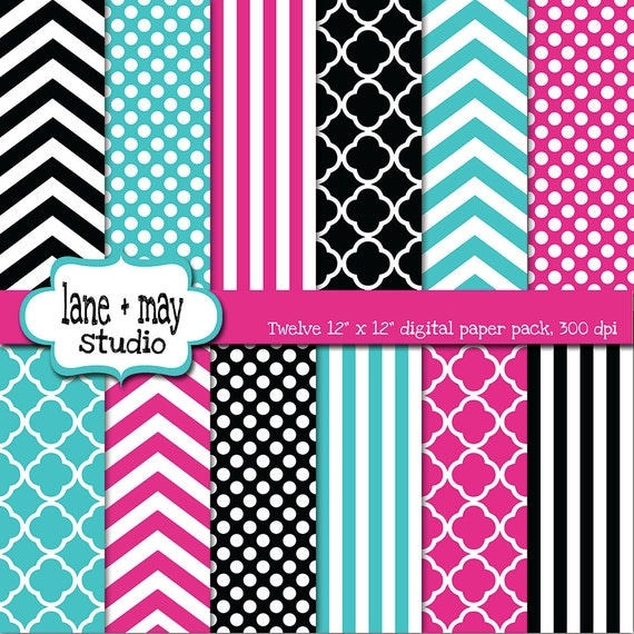 hot pink, black and aqua digital scrapbook papers