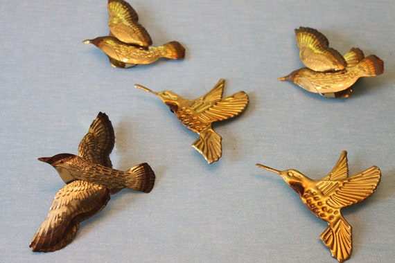 Set of 5 Vintage Gold Metal Birds Wall Art Sparrows and Humming Birds