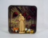 St Francis of Assisi pocket alter small enclosed tabletop alter with flowers, stature, colorful religious curio