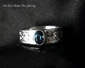 Recycled Silver, Celtic, London Blue Topaz, Engagement Ring, Fashion Ring, Gift